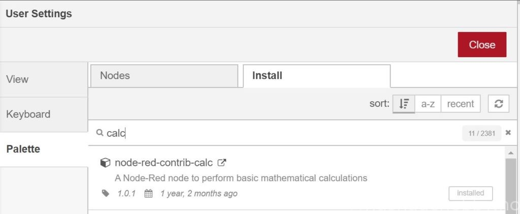 Node-red calc install